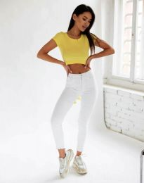 Атрактивен дамски топ къса тениска рипс с гол гръб в жълто - код 11927