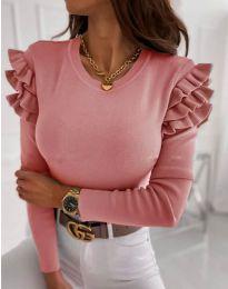 Блуза - код 1653 - 2 - пудра