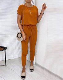 Спортен комплект блуза и панталон в меднокафяво - код 2986