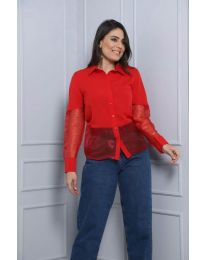 Дамска риза в червено с елементи от тюл - код 0638