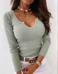 Дамска блуза рипс с дълбоко деколте в цвят мента - код 8755