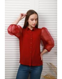 Дамска риза в бордо с ръкави от тюл - код 0633