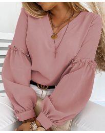 Елегантна дамска блуза в цвят пудра с ефектни ръкави - код 5565