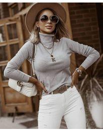 Блуза - код 8861 - 2 - сиво