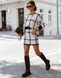 Стилен дамски комплект блуза с дълъг ръкав и къса пола- код 1971 - 1