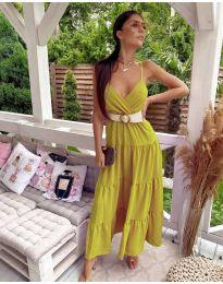 Свободна дълга рокля в цвят горчица - код 719