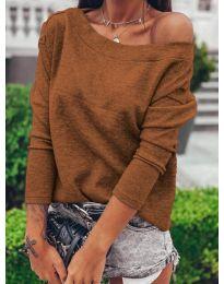 Блуза - код 4417 - кафеава