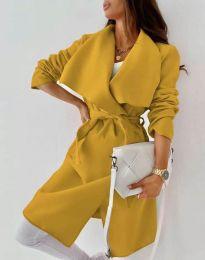 Дълго дамско палто с колан в цвят горчица - код 0960