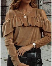 Блуза - код 4111 - кафеава