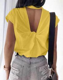 Дамска тениска с ефектен гръб в жълто - код 4515