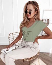 Дамска тениска с принт в светлозелено - код 7773