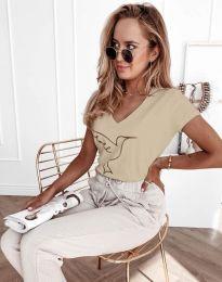 Дамска тениска с принт в  бежово - код 7773