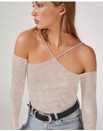 Блуза - код 8063 - сиво