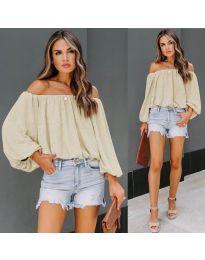 Блуза - код 6674 - кремова