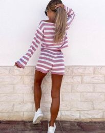 Ежедневен дамски сет блуза и къси панталонки рипс в розово райе - код 4634