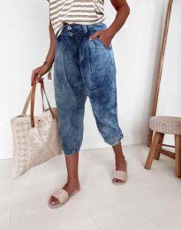 Дамски свободен панталон с висока талия в тъмносиньо - код 8493