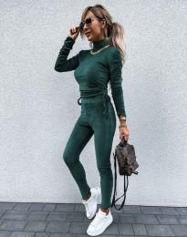 Дамски комплект блуза с поло яка и втален панталон кадифе в тюркоаз - код 4871