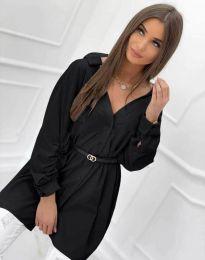 Дълга дамска риза с дълъг ръкав в черно - код 0227
