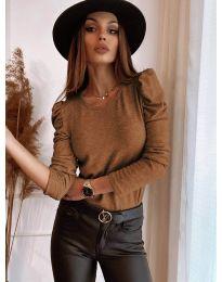 Блуза - код 9556 - кафеава