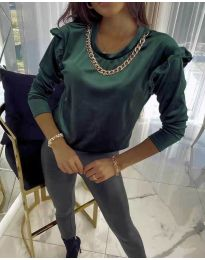 Блуза - код 6189 - темно зелена