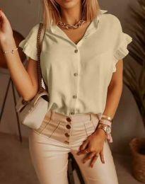 Дамска риза къс ръкав с къдрици в бежово - код 4136