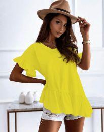 Атрактивна дамска тениска с къдрички в жълто - код 0317