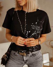 Дамска тениска в черно с принт - код 0401