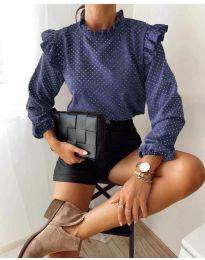 Блуза - код 5455 - темно сина