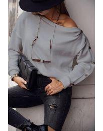 Блуза - код 4640 - сиво