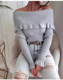 Блуза - код 7131 - сиво