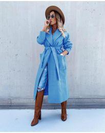 Дълго елегантно дамско палто с колан в синьо - код 5877