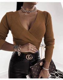 Блуза - код 6392 - кафеава