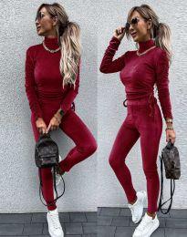 Дамски комплект блуза с поло яка и втален панталон кадифе в цвят бордо - код 4871