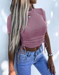 Къса дамска тениска с връзки в цвят пудра - код 2425