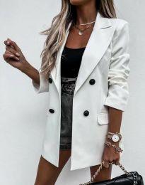Елегантно дълго дамско сако в бяло - код 3716
