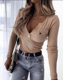 Дамска блуза с дълбоко деколте рипс в бежово - код 11615