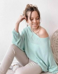 Дамска свободна блуза с паднало рамо от плетиво в цвят мента - код 4588