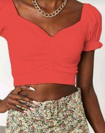 Къса елегантна дамска тениска в оранжево - код 0594