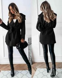 Елегантно дамско палто с колан в черно - код 1640