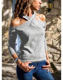 Блуза - код 4616 - сиво