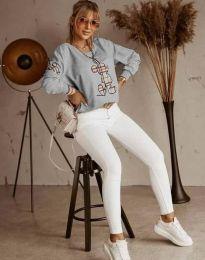 Блуза - код 2959 - сиво