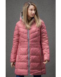 Дълго зимно шушляково дамско яке с цип и качулка в цвят корал - код 9387