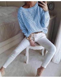 Блуза - код 6182 - небесно сина
