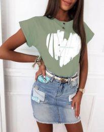 Атрактивна тениска с принт в светлозелено - код 11901