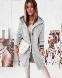 Дамска дълга свободна плетена жилетка в сиво - код 2972