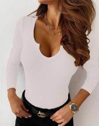 Дамска блуза рипс с дълбоко деколте в бяло - код 8755