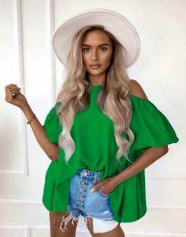 Атрактивна елегантна свободна дамска блуза с паднали рамене в зелено - код 0157