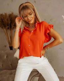 Дамска риза къс ръкав с къдрици в оранжево - код 4136