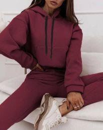 Спортен дамски комплект с долнище с висока талия и суичър с качулка в цвят бордо - код 6241
