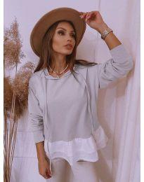 Блуза - код 3898 - сиво
